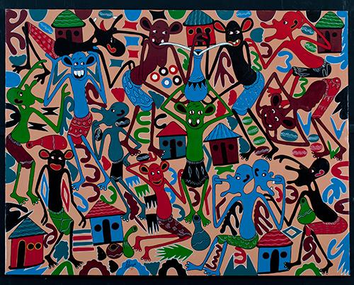 George Lilanga, Wana kijiji wana furaha baada ya kusikia leoni shikukuu, 1994 © Fondation Zinsou